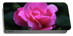 Pink Rose With Raindrops Portable Battery Charger