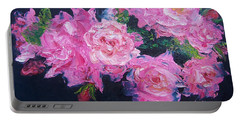 Pink Roses Oil Painting Portable Battery Charger