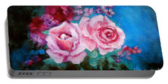 Pink Roses On Blue Portable Battery Charger by Jenny Lee