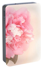 Portable Battery Charger featuring the photograph Pink Ruffled Camellia by Cindy Garber Iverson