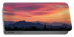 Portable Battery Charger featuring the photograph Pink Silhouette Sunset  by Saija Lehtonen