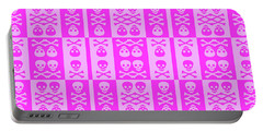 Pink Skull And Crossbones Pattern Portable Battery Charger by Roseanne Jones