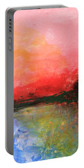 Pink Sky Over Water Abstract Portable Battery Charger