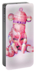 Pink Sock Monkey Portable Battery Charger by Jane Schnetlage