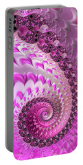 Pink Spiral With Lovely Hearts Portable Battery Charger