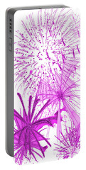 Portable Battery Charger featuring the digital art Pink Splash Watercolor by Methune Hively