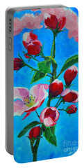 Portable Battery Charger featuring the painting Pink Spring by Ana Maria Edulescu