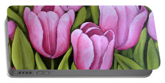 Pink Spring Tulips Portable Battery Charger