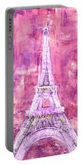 Portable Battery Charger featuring the painting Pink Tower by Elizabeth Lock