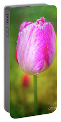 Pink Tulip In The Rain Portable Battery Charger