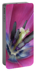 Portable Battery Charger featuring the photograph Pink Tulip Stamens by David and Carol Kelly