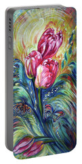 Pink Tulips And Butterflies Portable Battery Charger by Harsh Malik