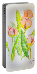 Pink Tulips Portable Battery Charger by J R Seymour