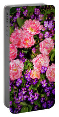 Pink Tulips With Purple Flowers Portable Battery Charger by James Steele