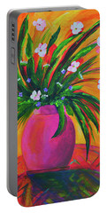 Pink Vase In Warm Afternoon Portable Battery Charger