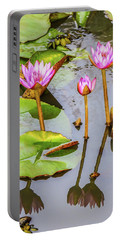 Pink Water Lilies In A Pond Portable Battery Charger