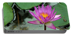Portable Battery Charger featuring the photograph Pink Water Lily by Judy Vincent