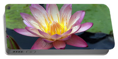Pink Water Lily Portable Battery Charger