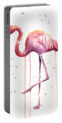 Pink Watercolor Flamingo Portable Battery Charger