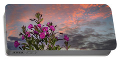 Portable Battery Charger featuring the photograph Pink Wildflowers At Sunset by James Truett