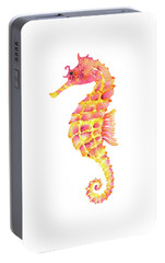 Pink Yellow Seahorse Portable Battery Charger by Amy Kirkpatrick