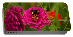 Pink Zinnia And Bee Portable Battery Charger