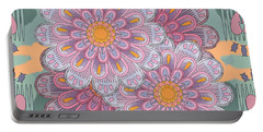 Pink Zinnia Mandala Portable Battery Charger