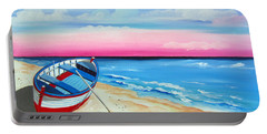Pinkish Sunset And Boat Portable Battery Charger