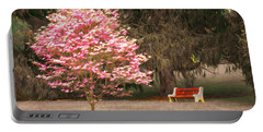 Pinky And The Bench - Impressionism Portable Battery Charger