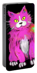 Portable Battery Charger featuring the painting Pinky Dizzycat by DC Langer
