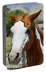 Portable Battery Charger featuring the photograph Pinto In The Pasture Portrait  by Barbara Snyder