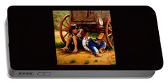 Portable Battery Charger featuring the painting Pioneer Boys Napping On The Trail by Peter Gumaer Ogden