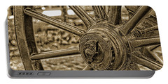 Portable Battery Charger featuring the photograph Pioneer Wagon Wheel by Marie Leslie