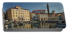 Portable Battery Charger featuring the photograph Piran Marina Reflections #2 by Stuart Litoff