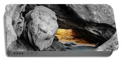 Pirate's Cave, Black And White And Gold Portable Battery Charger