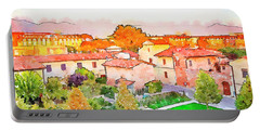 Pisa In Watercolor Style Portable Battery Charger