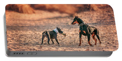 Portable Battery Charger featuring the photograph Pitbull And Doberman by Peter Lakomy