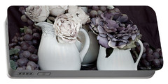 Portable Battery Charger featuring the photograph Pitchers And Tapestry by Sherry Hallemeier