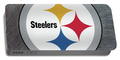 Pittsburgh Steelers On An Abraded Steel Texture Portable Battery Charger