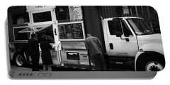 Pizza Oven Truck - Chicago - Monochrome Portable Battery Charger by Frank J Casella