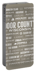 Portable Battery Charger featuring the digital art Places Of Door County On Brown by Christopher Arndt