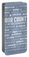 Portable Battery Charger featuring the digital art Places Of Door County On Light Blue by Christopher Arndt