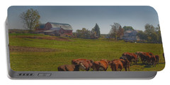 1014 - Plain Road Farm And Cows I Portable Battery Charger