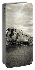 Portable Battery Charger featuring the photograph Plane Crash Iceland by Edward Fielding