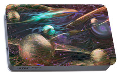 Portable Battery Charger featuring the digital art Planetary Chaos by Linda Sannuti