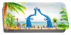 Portable Battery Charger featuring the painting Playa Del Carmen Portal Maya Statue by Carlin Blahnik CarlinArtWatercolor