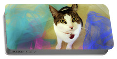 Playful Cat Portable Battery Charger by Haleh Mahbod
