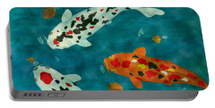 Portable Battery Charger featuring the painting Playful Koi Fishes Original Acrylic Painting by Georgeta Blanaru