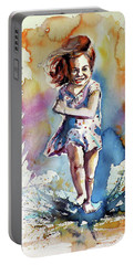 Portable Battery Charger featuring the painting Playing Girl by Kovacs Anna Brigitta