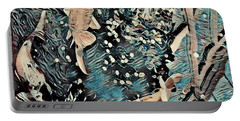 Portable Battery Charger featuring the digital art Playing It Koi by Mindy Newman